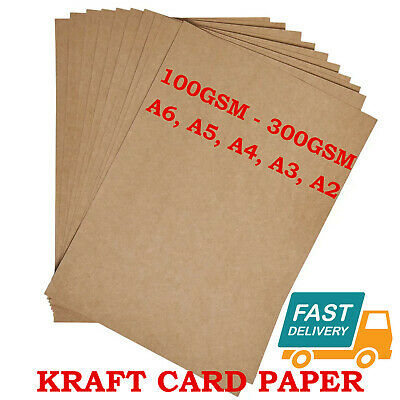 £1.19 • Buy A6 A5 A4 A3 A2 100gsm - 300gsm Brown Kraft Card Craft Recycled Eco Printer Paper