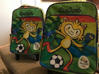 £105.30 • Buy NEW Rio 2016 Olympic Games 2 Kids Matching Rolling Backpacks With Wheels W/ Tags