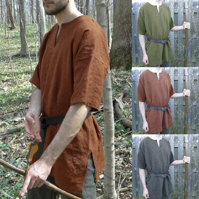 Medieval Vintage Men Women Tunic Top Shirt Knight Cosplay Costume Party Summer • 9.87£