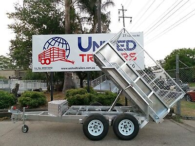 AU8199 • Buy 8 X 5 Hydraulic Tipper Box Trailer 3.5T WITH 600MM Mesh Cage + Spare Wheel