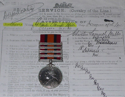 QSA MEDAL 4 CLASPS TO 3rd DRAGOON GUARDS + Papers & Roll  • 180£