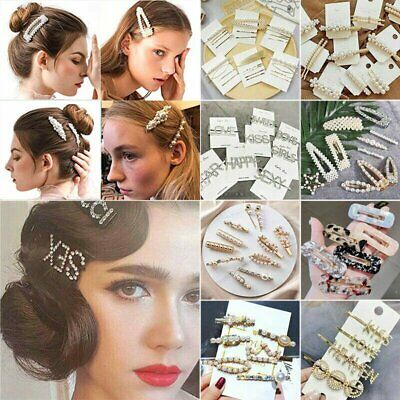 $0.99 • Buy Fashion Pearl Metal Hair Clip Hairband Comb Bobby Pin Barrette Hairpin Headdress