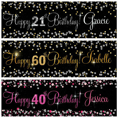 2 Personalised Birthday Banner Silver Gold Pink Party Wedding Celebration Poster • 3.99£