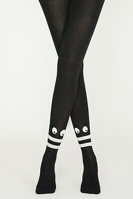 Cute Cotton Design Tights S/M/L/XL Black Funny Eyes Patterned • 11.70£