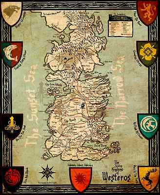 £2.82 • Buy Poster  FOR Game Of Thrones Poster Printing 42x60cm  Ice And Fire Westeros MAP