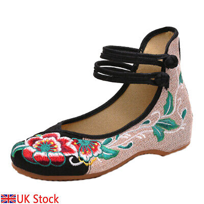 £11.10 • Buy Chinese Style Embroidered Shoes Floral Single Shoes Casual Shoes For Women