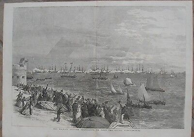 1854 Antique Engravings - Baltic Fleet Review, Spithead - Map Of The Baltic Sea • 11.57£