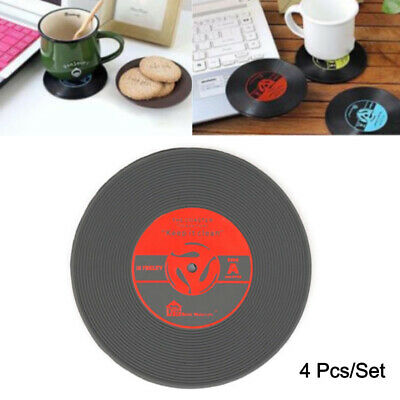 4 Pcs/Set Vinyl Coaster Retro CD Record Cup Drink Holder Mat Tableware Placemat • 1.99£