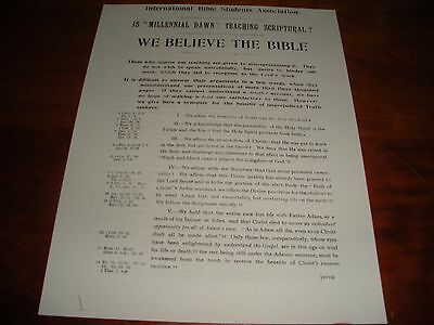 $9.99 • Buy Very Rare 1902 Millennial Dawn Synopsis Paper Watchtower I.B.S.A. Jehovah