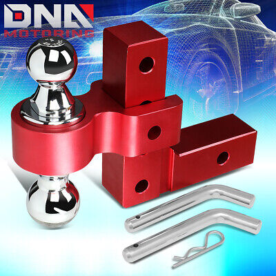 $78.99 • Buy For 2  Receiver Aluminum 6  Drop Adjustable Tow Towing Hitch Red W/dual Ball