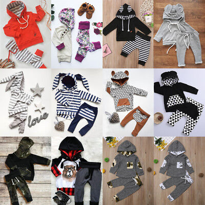 UK Newborn Toddler Baby Boy Girls Hooded Tops Coat Pants Leggings Outfit Clothes • 8.31£