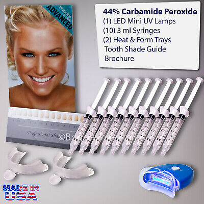 AU23.59 • Buy Teeth Whitening Kit 10 X Tubes 2 Trays (1) White LED Light Best 44% CP Gel USA