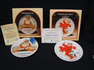 $ CDN18.19 • Buy Lot Of 2 Norman Rockwell Christmas Collector Plates 1980 &1981 COA MIB