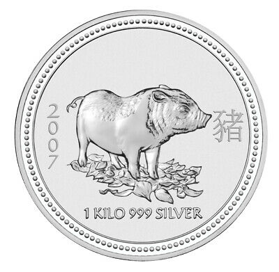 AU2073.20 • Buy 1 Kg 2007 Australian Lunar Year Of The Pig Silver Bullion Coin - Series I