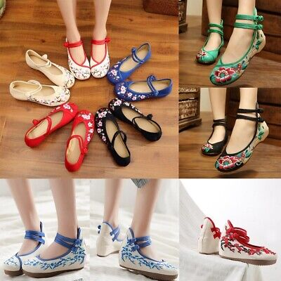 Chinese Embroidered Floral Shoes Women Ballerina Mary Jane Flat Ballet Cotton • 8.10£