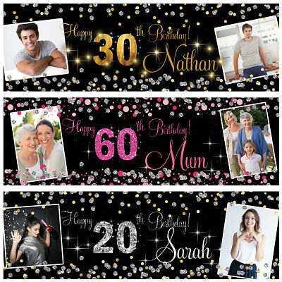 2 Personalised Birthday Banner Photo Silver Gold Pink Party Wedding Poster • 6.49£