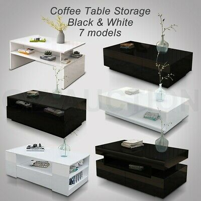 AU159.95 • Buy Modern Coffee Table Storage Drawer Cabinet High Gloss Furniture 7 Models BK/WH