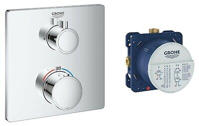 £309.95 • Buy Grohe Grohtherm 1 Way Thermostatic Shower Mixer Square Trim + Smart Rapido Valve