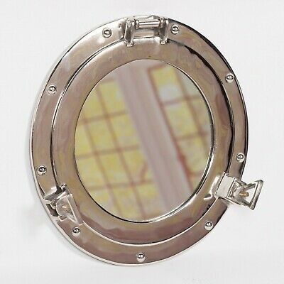 Industrial Metal Nautical Ship Style Silver Chrome Bathroom Porthole Wall Mirror • 25£