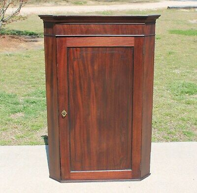 $525 • Buy 19th C Federal Mahogany Wall Corner Cabinet Cupboard With Butterfly Shelves