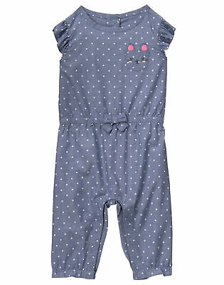 90961b3fe 0 3 6 9 12 18 24 M Gymboree Chambray MOUSE POCKET Romper Baby Girl NWT
