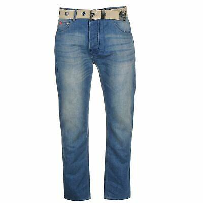 Lee Cooper Mens Belted Jeans Straight Pants Trousers Bottoms • 14£