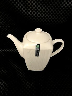$69.95 • Buy Roscher Fine Porcelain Porcelaine White Wood Grain Texture Tea Pot  New!