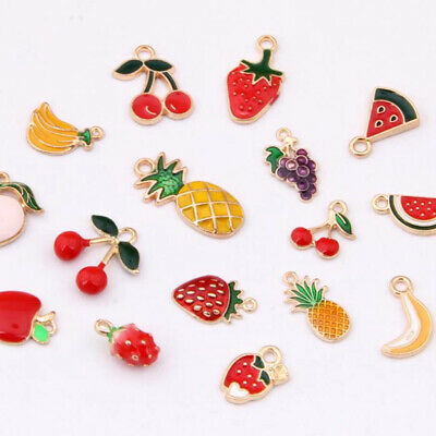 £2.66 • Buy 20PC Enamel Fruit Series Alloy Pendant Cherry Strawberry Charms Accessories 1201
