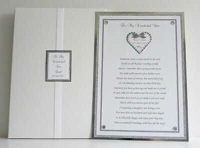 £17.99 • Buy Personalised Wedding Poem Card For Son Or Daughter On His/Her Wedding Day