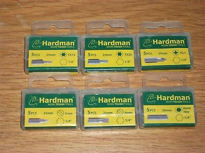 10 X HARDMAN Work Tough Tools FLAT Pz1 SCREW DRIVER TORX STAR HEX BITS 1/4  • 2.99£