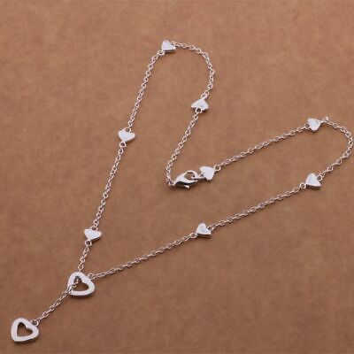 AU11.22 • Buy 925 Sterling Silver Plated Multi-Heart Lariat Y-Shape Charm Pendant Necklace New