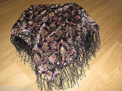 £3.99 • Buy Ladies Silky Scarf, Multi Coloured With Fringes