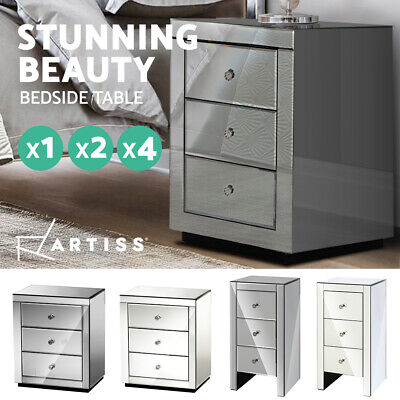 AU433.90 • Buy Artiss Bedside Tables Drawers Side Table  Nightstand Storage Mirrored Furniture
