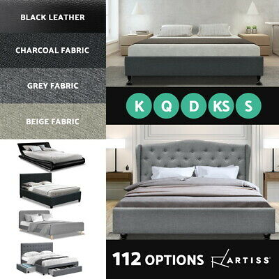 AU245.95 • Buy Artiss Bed Frame Queen Double King Single Size Base Mattress Fabric Leather