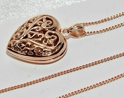 9ct Rose Gold On Silver Filigree Heart Locket Pendant / Necklace • 24.95£
