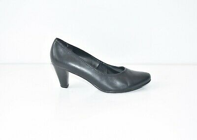 Black Real Leather JANA Mid Heel Court Women's Shoes Heels Size UK5.5 EUR38.5 • 24.99£