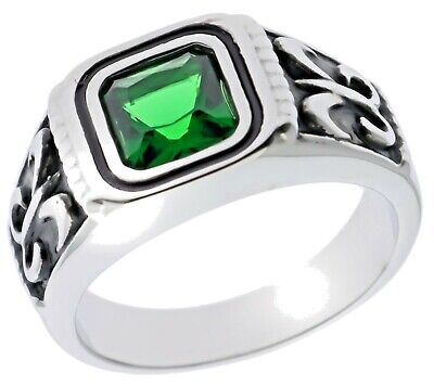 $23.02 • Buy 4 Carat Emerald Simulated Fleur De Lis Mens Ring 316 Stainless Steel Size 9 T28