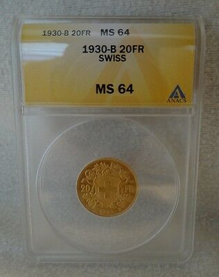 $449.99 • Buy 1930-B Swiss 20FR ANACS MS 64 Gold Coin 1930 B Switzerland 20 Francs MS64