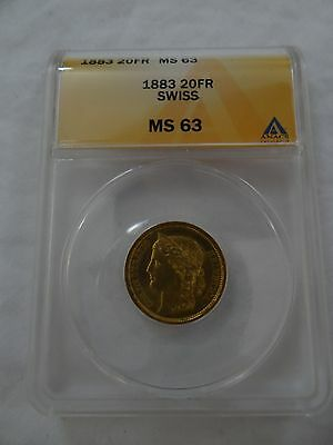 $679.99 • Buy 1883 Swiss 20FR ANACS MS63 MS-63 Gold Coin Switzerland 20 Francs Helvetica RARE