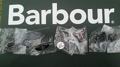 Rare Full Set Of (7) Barbour Triumph Motorcycle Pin Badges Enamel & Metal New • 59.99£