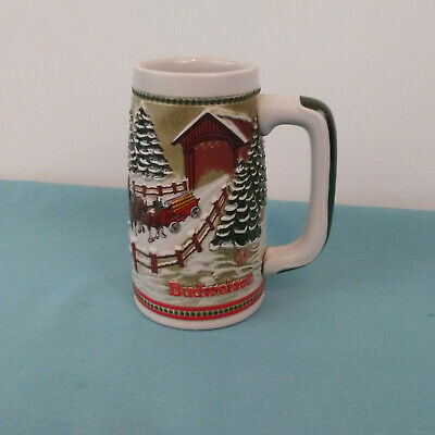 $ CDN15.71 • Buy Budweiser Ceramarte Christmas Holiday Stein Mug Covered Bridge 1984 With Errors
