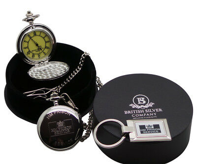 HMP PRISON Engraved Personalised Pocket Watch And Keyring HM JAIL OFFICER WARDEN • 31.95£