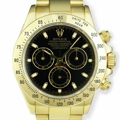$ CDN44874.75 • Buy ROLEX - 40mm Mens 18kt Gold DAYTONA Chronograph Black Index 116528 - SANT BLANC