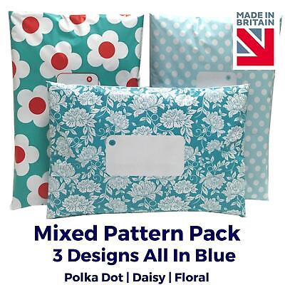 £5.38 • Buy BLUE Printed Mailing Bags MIXED PACK Post Postal Plastic Poly Polka Dot Floral