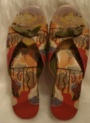 ICON Wedge Open Toe Sandals Wearable ART Slides With Knotted Bows Ladies Sz 11 • 21.70£