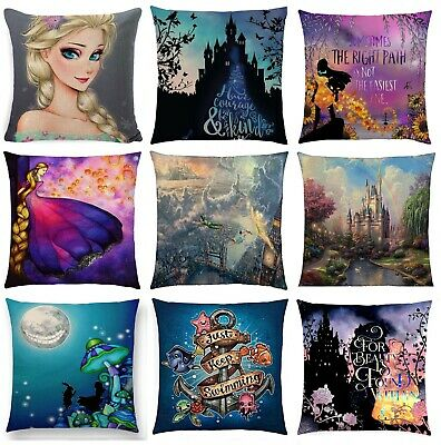 Belle Cinderella Alice Rapunzel Jasmine Dory Stitch Cushion Cover Disney Woven  • 9.99£