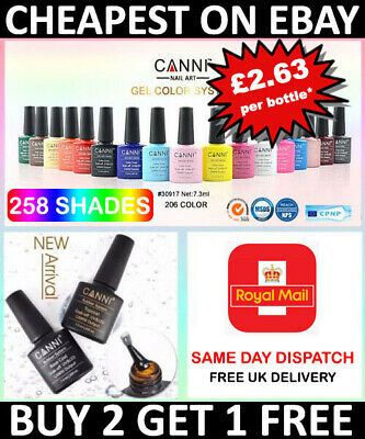Nail Gel Polish Set CANNI Soak Off UV LED Colour Base Top Coat Nail Varnish  • 3.95£