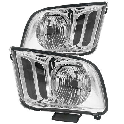 $75.99 • Buy Chrome Housing Clear Lens Headlights Replacement For 05 06 07 08 09 Ford Mustang
