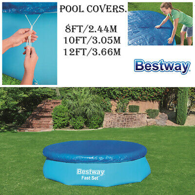 £9.95 • Buy Bestway Round 8ft 10 Ft 12ft Fast Set Family Swimming Pool Sheet Cover Tarpaulin