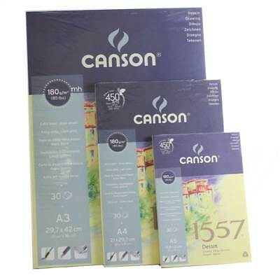 Canson 1557 180gsm A5, A4, A3 Sketching Drawing Paper Pad Book Spiral Or Gummed  • 4.95£
